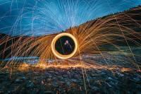 Brennende Stahlwolle